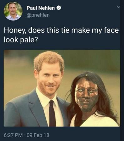 """9日,尼林在推特上发布一张修过图的照片,照片中梅根的脸被替换成了""""切达人""""。(图片来源:""""东森新闻云"""")"""